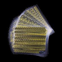 24 Pcs Lot Gold Stripe Love Heart Gliter Diy Decorations For Nails Beauty 3D Nail Art