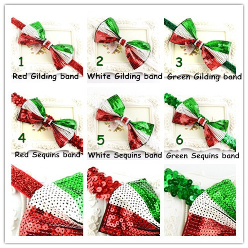 Wholesale 10PCS Red white Green Christmas Glitter Sequin Bow Decorated Bling Elastic Band Girls Kids Hair Jewelry Headwear(China (Mainland))