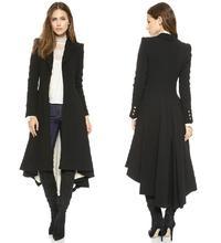 Bingo winter women slim maxi wool trench Fashion Victoria Style Black Asymmetric Length with dovetail hem Wool Blend Coat Haoduo(China (Mainland))