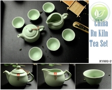 8pcs Warm Jade China Ru Kiln Yao Sky Cyan Rare Teaset Ceramic Tea set,1 Teapot,1 Justice Cup,6 Tea Cups,Porcelain RY002-2