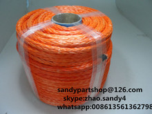 free shipping 14mm*100m orange synthetic winch cable for electric winch,uhmwpe rope,spectra rope for auto parts