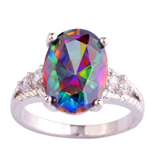 Buy AAA CZ Fashion Crystal Jewelry MultiColor Rainbow Zircon Plated Silver Ring Size 6 7 8 9 10 11 12 for $4.64 in AliExpress store