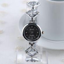 2015 mujeres Vintage para mujer Square Rhinestone pulsera Casual vestido relojes de tiempo de cuarzo de la cadena de aleación blanco negro FMPJ675 # m1