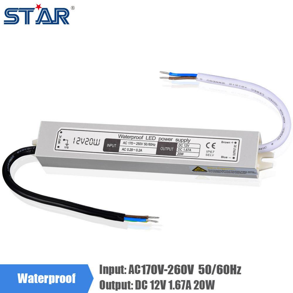 12V 1.67A 20W 170V-260V Lighting Transformer, Aluminum IP67 Waterproof LED driver Power Supply Adatper for LED Strip Lights <br><br>Aliexpress