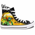 Anime TMNT Teenage Mutant Ninja Turtles High Top Painted Shoes Man Woman Custom Canvas Sneakers Hand