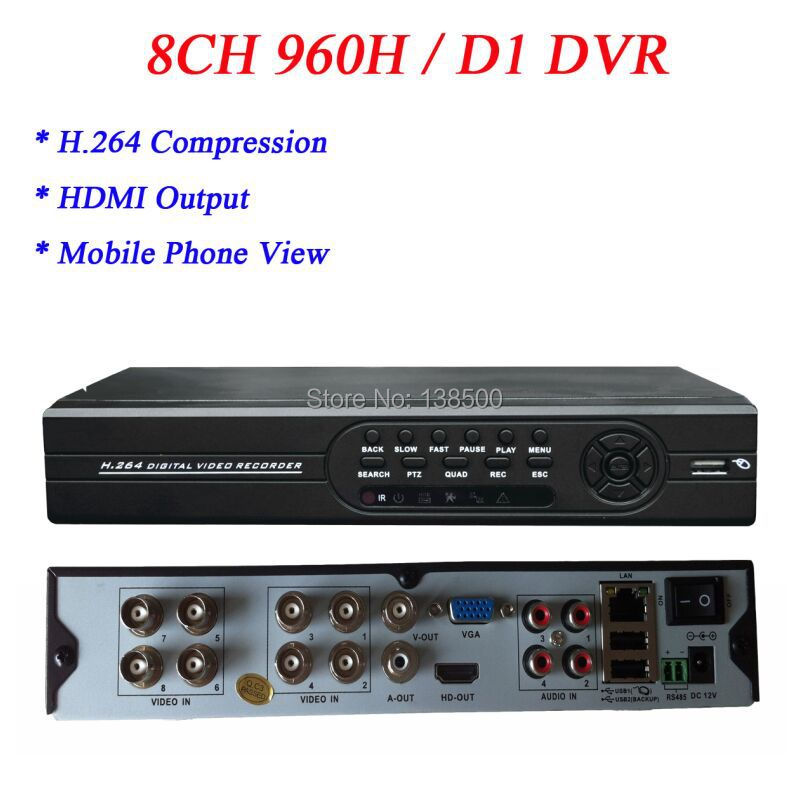 Free Shipping Wholesale Free DDNS CMS Software CCTV Standalone DVR 8 Channel 28 Languages Supported HDMI Output(China (Mainland))