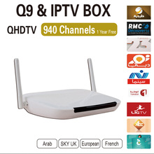 Hot selling Android TV Box Q9 two Antenna strong wifi Android APK QHDTV VOD With 1 year European IPTV Account Free Shipping