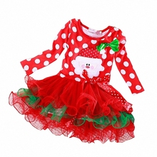 Girl clothing Christmas fashion cartoon style baby girls lace  kids clothes children cotton baby tutu princess dress ws022