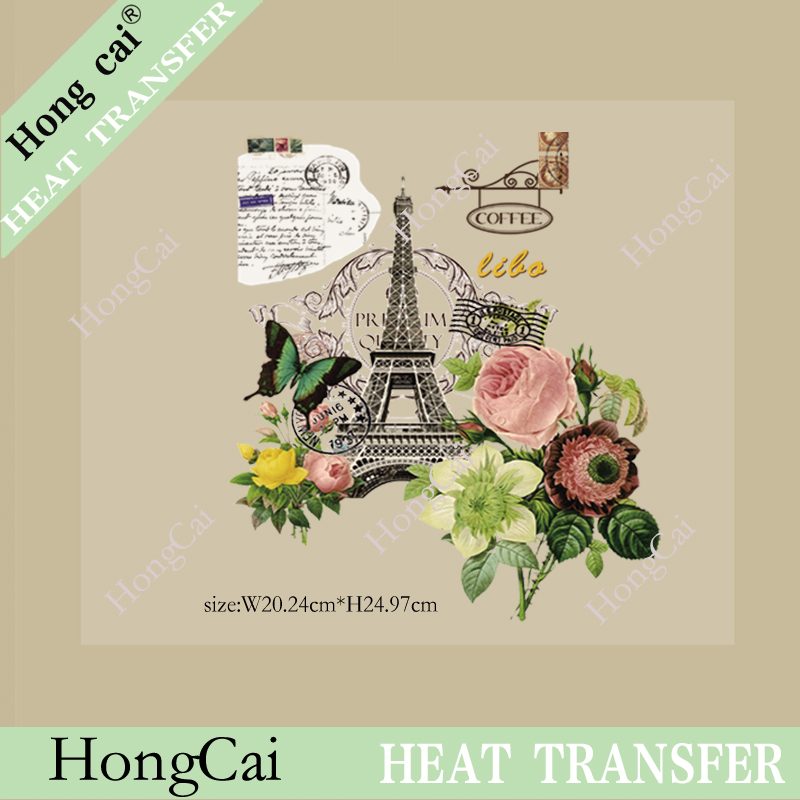 Wholesale Offset printing heat transfer iron garment sticker Paris tourism shirt commemorative clothing wholesale printing(China (Mainland))