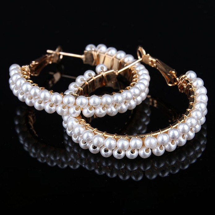 1 Pieses !! Christmas Gift Statement Pearl Stud Earrings Pure Hand Elegant Women Party Wedding Fashion Jewelry - BXY Co., Ltd. store