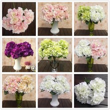 Different Price Different Quality 5 Flower Heads Hydrangea Artificial Flower Bouquet Home Party Floral Colorful For Decoration(China (Mainland))