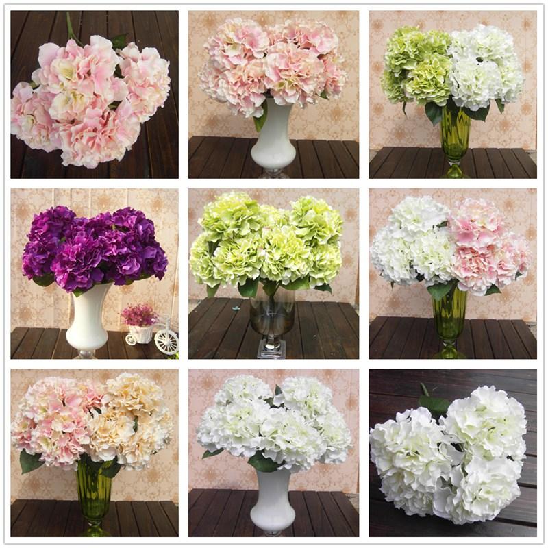 anderen Preis andere Qualität 5 blütenköpfe hortensie künstlichen blumenstrauß home party blumen bunt für dekoration(China (Mainland))