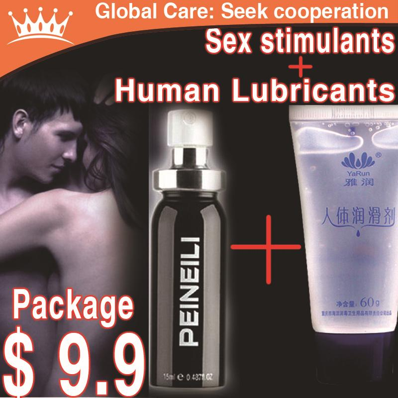 Sex product 2 bottles, body lubricants, sex stimulants, sex delay, anti premature ejaculation, impotence, massage lubricants(China (Mainland))