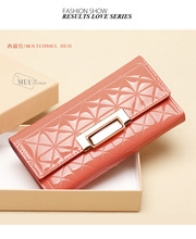 2015 Promotion Brand women s wallet good quality PU Leather multi color metal hasp long coin