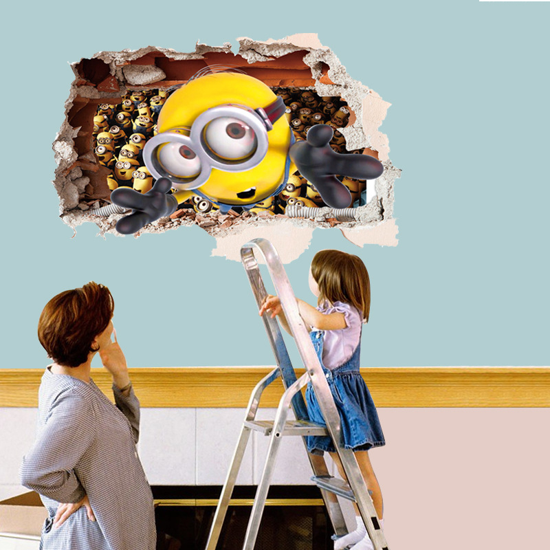 Cartoon 3D Small Yellow People Wall Stickers Children's Room Wallpaper Removable PVC Wall Decorative Landscaping C23(China (Mainland))