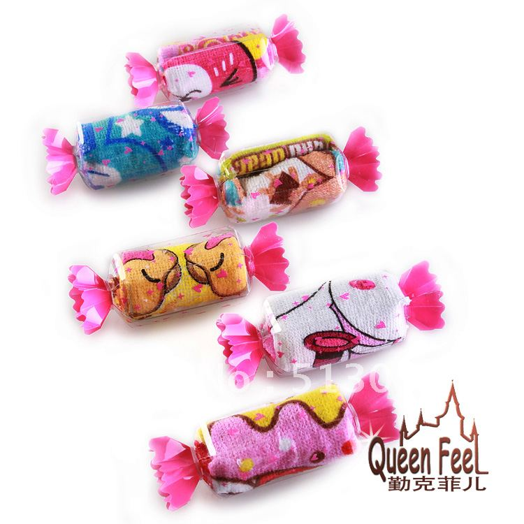 15Pcs/lot candy towel, gift towel, wedding gifts, birthday gifts,100%cotton, mixed color, free shipping(China (Mainland))