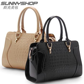 2014 genuine pu leather crocodile pattern fashion smiley women handbags shoulder cross body bag women messenger bags Brand tote