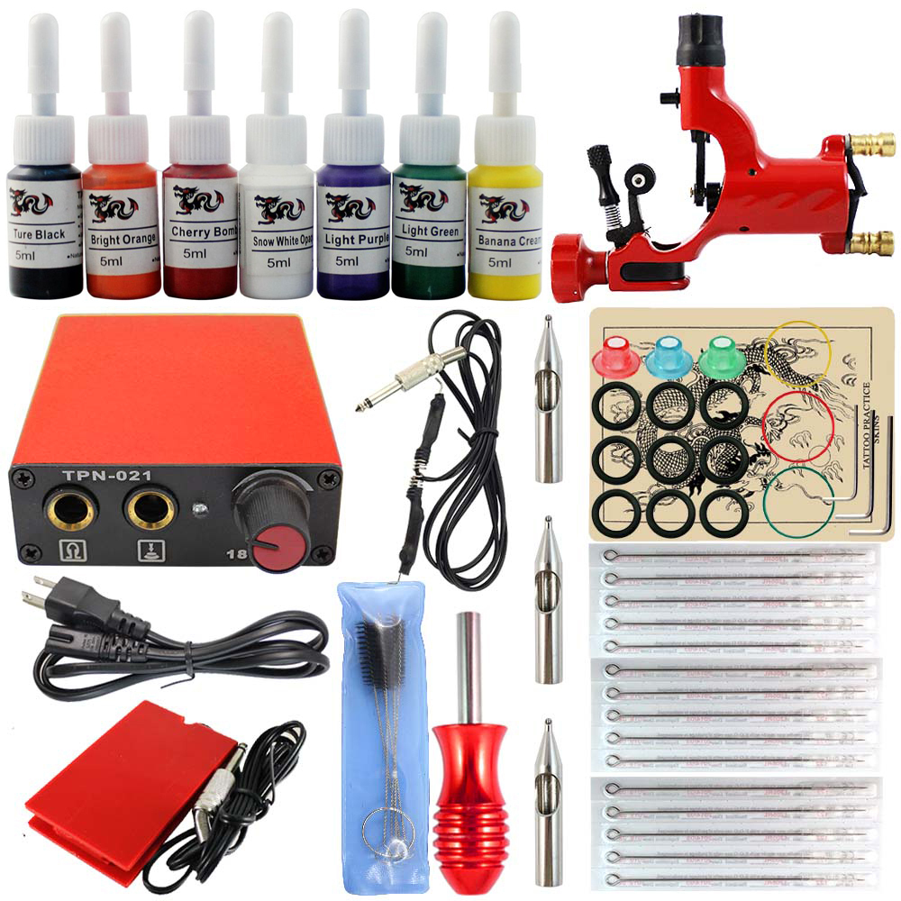 TKN116006 Cheap Tattoo Kits Set with Seven Pigment and Mchine and Needles for Beginners(China (Mainland))