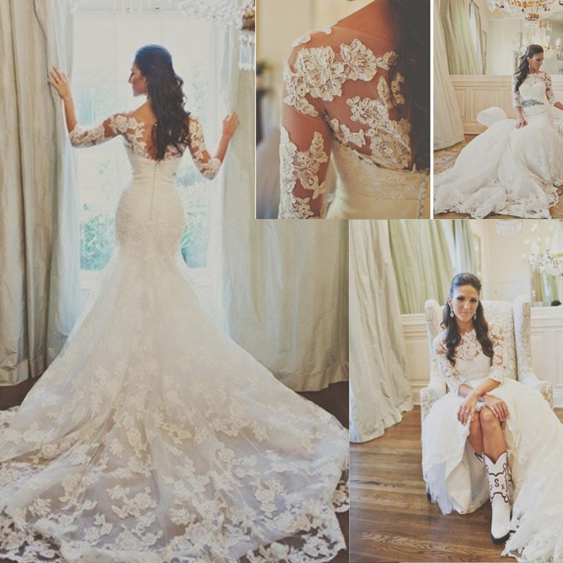 Romantic Limited Perfect Long Sleeve Lace Mermaid Wedding Dresses 2015 Cheap Custom Made Sheer Crew Neck Backless Bridal Fancy
