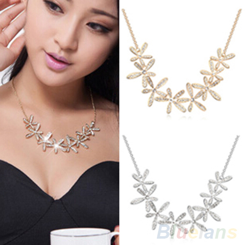 Women's Vintage Full Rhinestone Snowflake Pendant Alloy Choker Chain Statement Necklace 2J9V(China (Mainland))