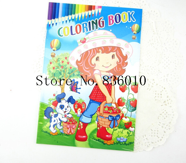 New 10pcs Cartoon Strawberry Girl Stickers Coloring Books-kid Children's Educational Painting Book Gift 1pcs/8 sheets H-31(China (Mainland))