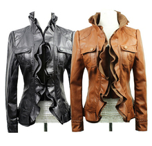 New 2015 autumn and winter  fashion ladies leather jacket lace short paragraph Slim leather jacket motorcycle leather(China (Mainland))