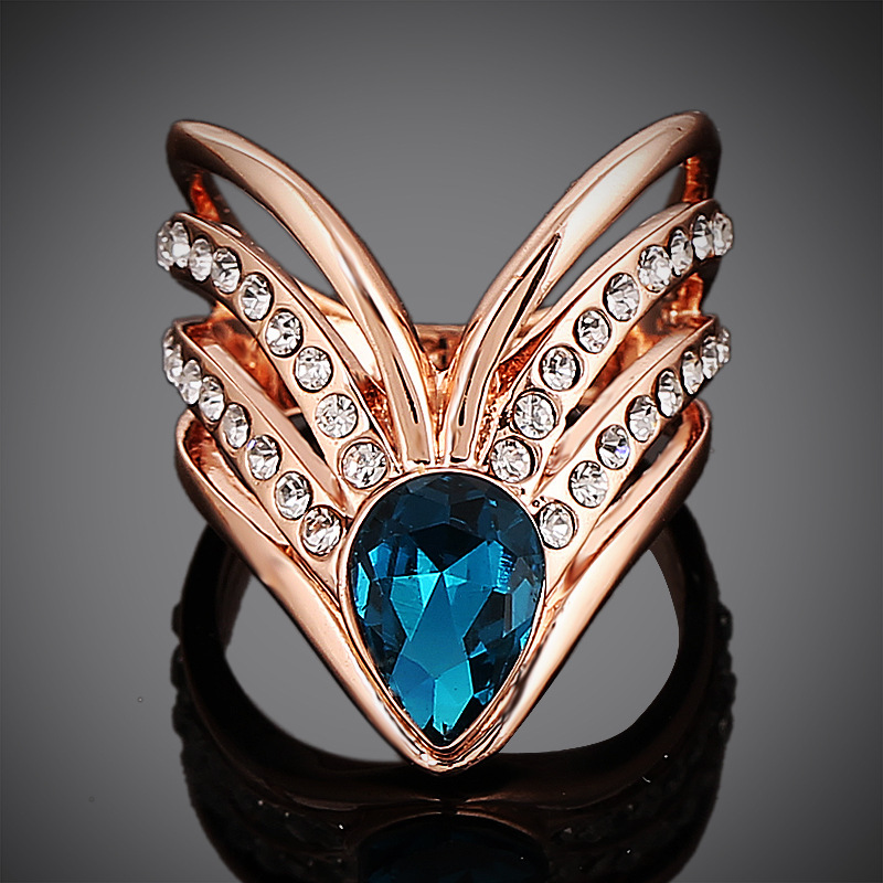 Fine Jewelry Vintage Ring Classic 18K Rose Gold Plated Transparent Stellux Austrian Blue Crystal Water Drop Woman ER016 - dreamfly party balloons store