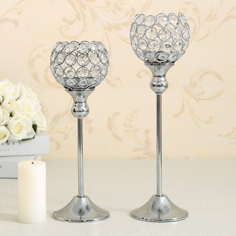 Crystal candle holder metal silver candlestick lantern