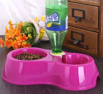 Hot Sale Free Shipping Dual Port Dog Automatic Water Dispenser Feeder Utensils Bowl Cat Drinking Fountain Food Dish Pet Bowl(China (Mainland))