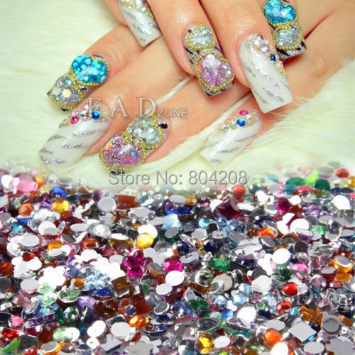 2000pcs mix shape color 3D nail art diamante nail tools decorations glitter rhinestones for nail jewelry tips(China (Mainland))