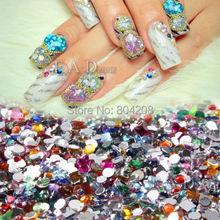 2000pcs Nail Art Mixed Shape Rhinestones Acrylic Decoration Flat back Gems