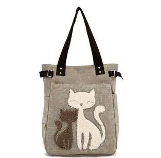 2015 Fashion women's handbag cute cat bag tote,lady canvas bag shoulder bag!(China (Mainland))