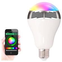 2015 New Fashion Wireless 6W LED E27 bluetooth bulb Audio Speaker Color Changing via WiFi App Control(China (Mainland))