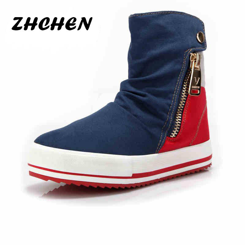 Spring 2015 hot new women shoes canvas boots Blue Red 2 colors ladies casual shoes zipper Women's fashion Flat Boots size 35~40(China (Mainland))