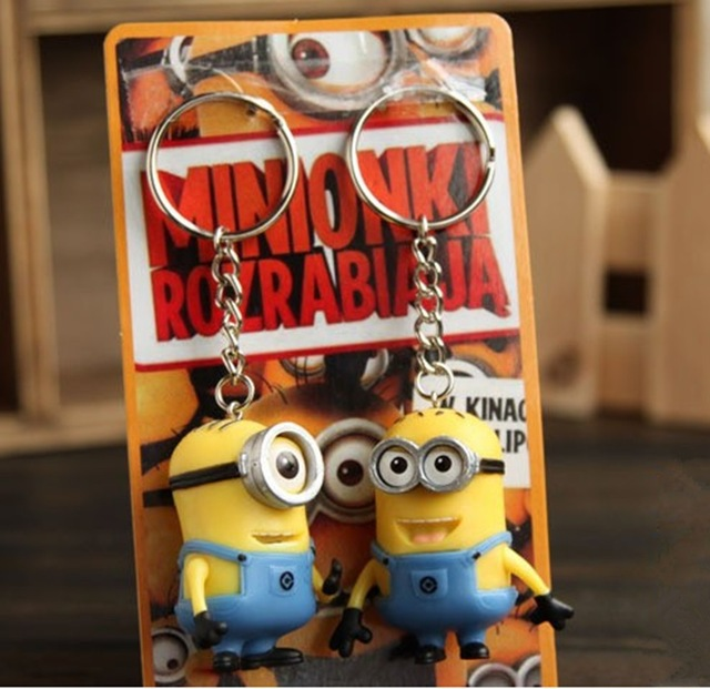 2pcs/lot Minions Despicable ME Minion Toys Key Chains 3D Eyes Dolls kids Movie Figures Doll Key Ring Holder gifr for children(China (Mainland))