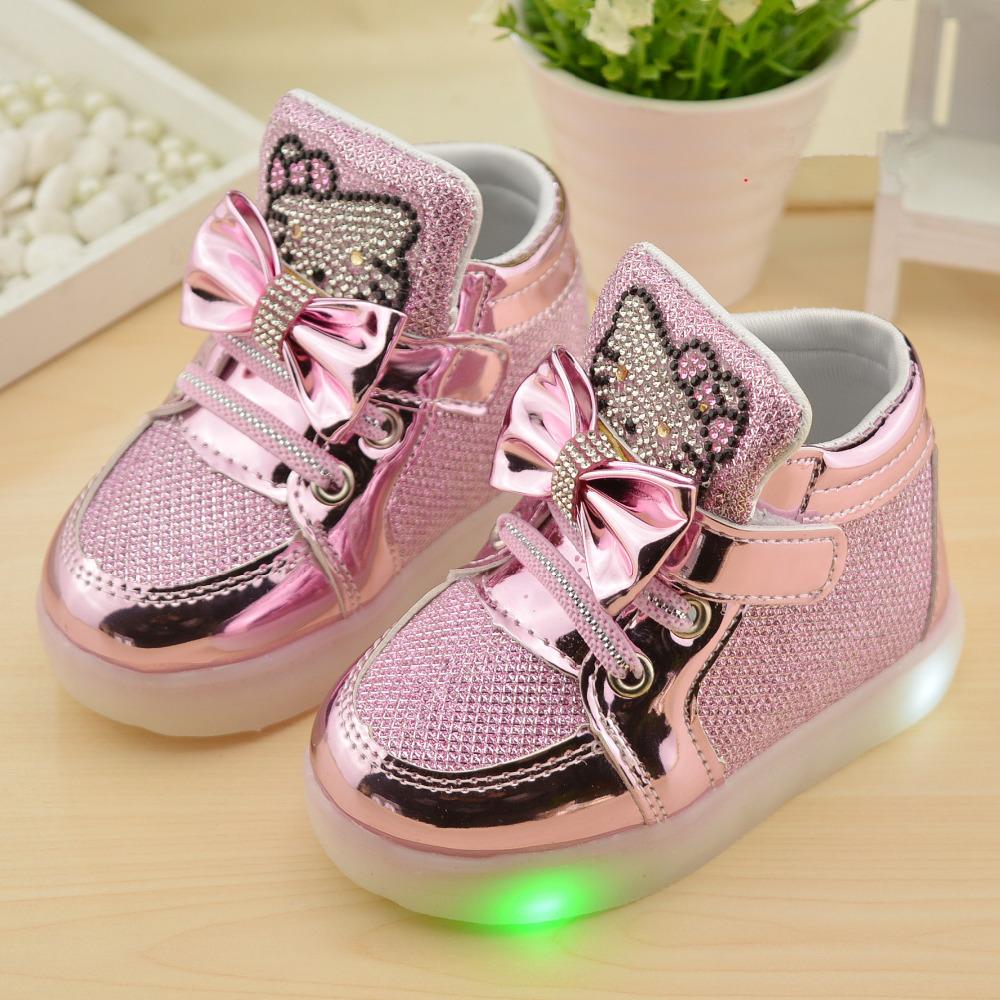 2016 New Autumn Children shoes Brand Hook Loop LED Shoes Lighted Kids Sneakers Children Led Sneakers Boys Girls Boots EU 21-30(China (Mainland))