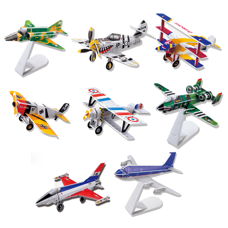 FREE SHIPPING! Eight Planes AS One Set Children Handmade 3D Puzzle Mini airplane Model Intelligence Educational Jigsaw Kid Toys(China (Mainland))