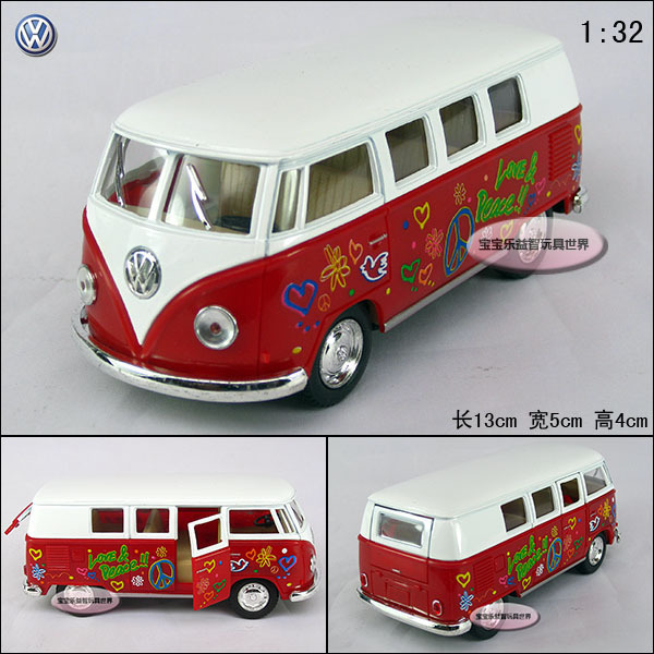 Soft world 1:32 volkswagen classic doodle bus red-white vw alloy car models free air mail