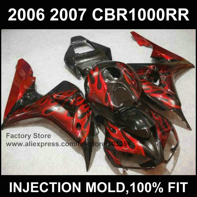 Custom 100% injection Motorcycle Fairings parts for HONDA 06 07 CBR1000RR 2006 2007 CBR 1000RR fireblade red flame fairing kits(China (Mainland))