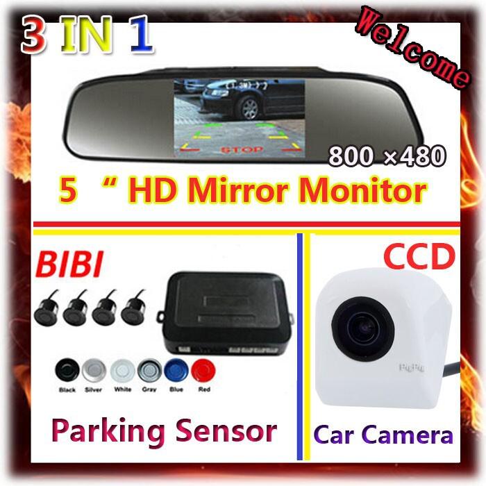 3 in 1 5 inch HD 800*480 Car Mirror Monitor + HD CCD rear view Camera+ Car Parking sensor Radar Sensor System,Free Shipping<br><br>Aliexpress