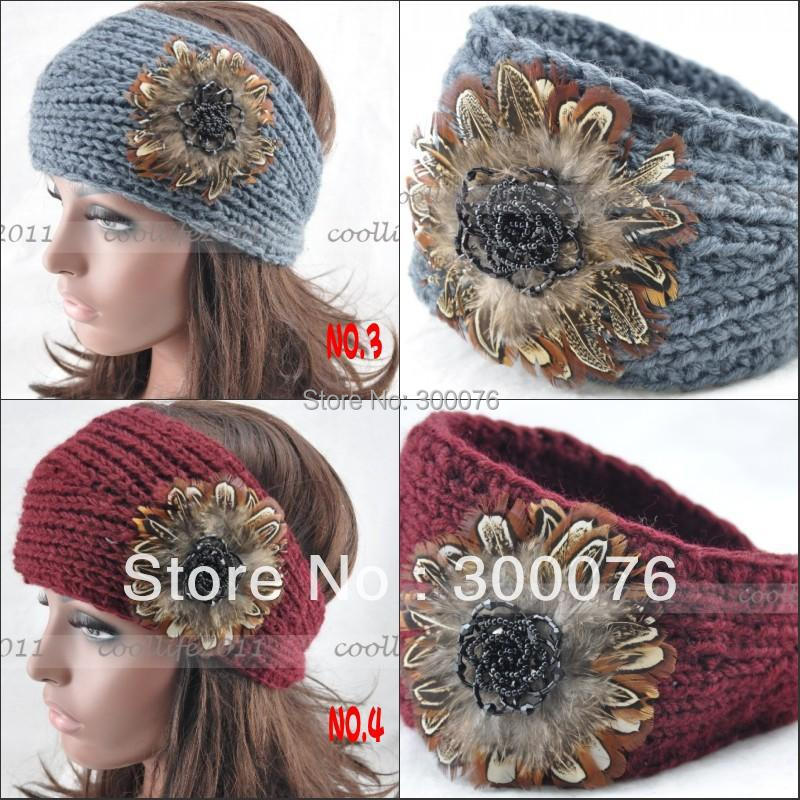 BIG SIZE Real Feathers Sequins Adjustable Hand Knit Handmade Headwrap HeadbandОдежда и ак�е��уары<br><br><br>Aliexpress
