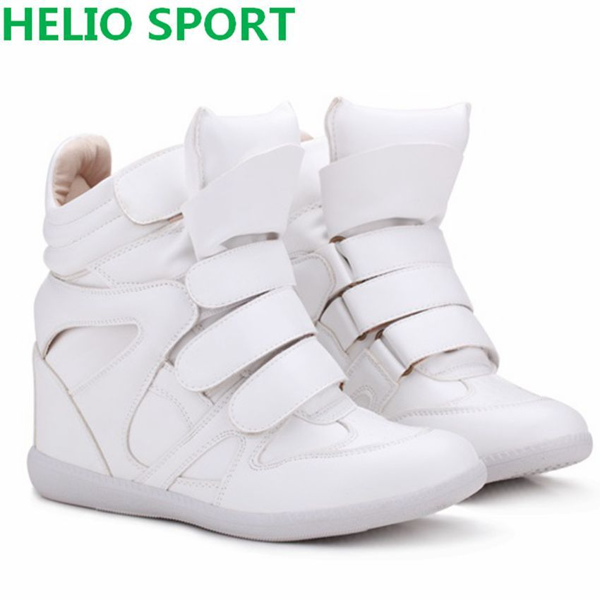 Isabel Marant Style Women Platform Wedge Sneakers Height Increasing Shoes soft Leather Velcro Casual high top Boot shoes sn33d88(China (Mainland))