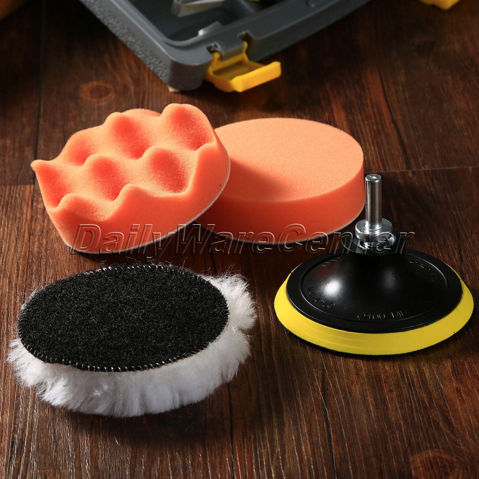 "5Pcs 4"" 100mm Car Wash Auto Car Polishing Sponge Wheel Set Wet Foam Buffing Pads for Car Cleaning W/ Drill Adaptor M10 Car Care(China (Mainland))"