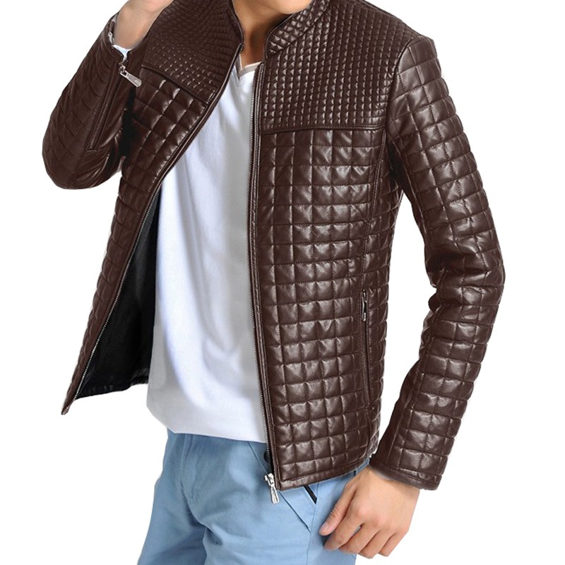 2016 New Style Men's Popular Handsome PU Leather Jacket Plus Velvet Warm Black Brown Classical Men Jacket Plus Size M-5XL MWJ650