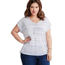 Plus Size Women Clothing Loose Striped T Shirt Casual Short Sleeve Loose Wild T-shirt Women Tee Tops TS104(China (Mainland))