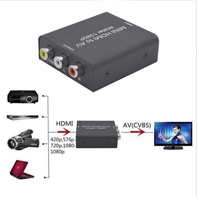 Mini Composite AV CVBS 3RCA to High Definition Multimedia Interface Video Converter Adapter HDMI 720p 1080p Upscaler Converter(China (Mainland))