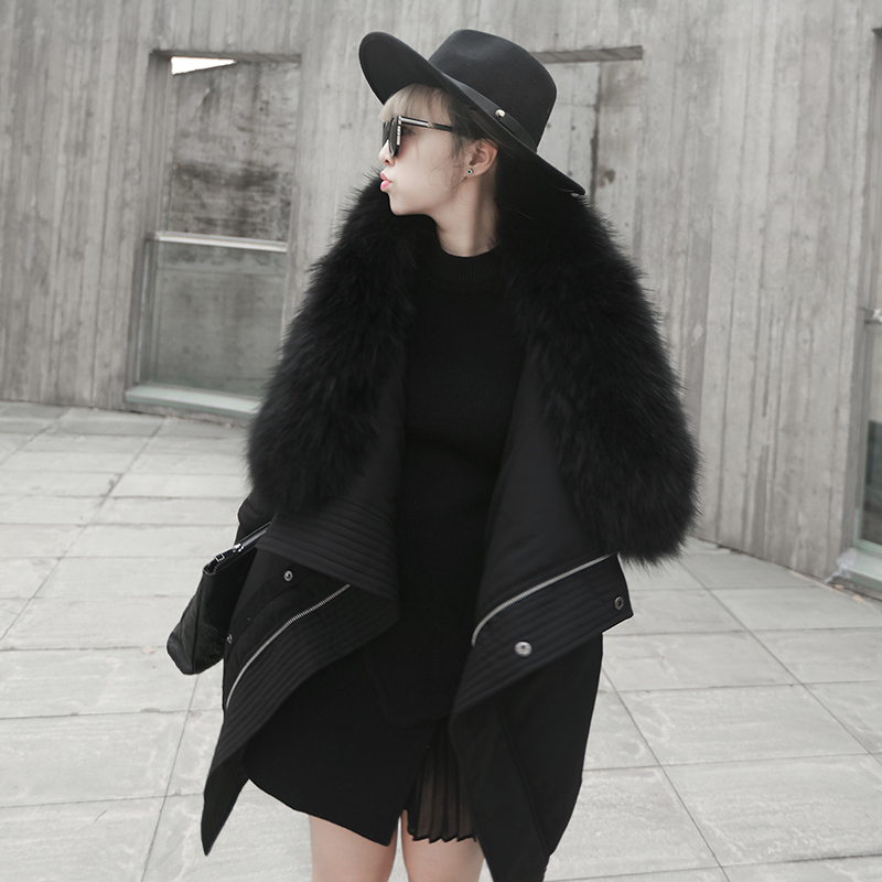 New Fashion Black Real Fur Jacket and Coat Women Winter Down Jackets with Fur Slim Fit 1497Одежда и ак�е��уары<br><br><br>Aliexpress
