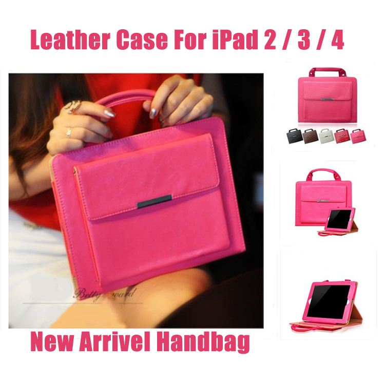 """Luxury 9.7"""" Tablet Casual Stand Carrying Bag Leather Case for Apple iPad 2 3 4 Handbag Smart Covers Cases for iPad4 iPad3 iPad2(China (Mainland))"""