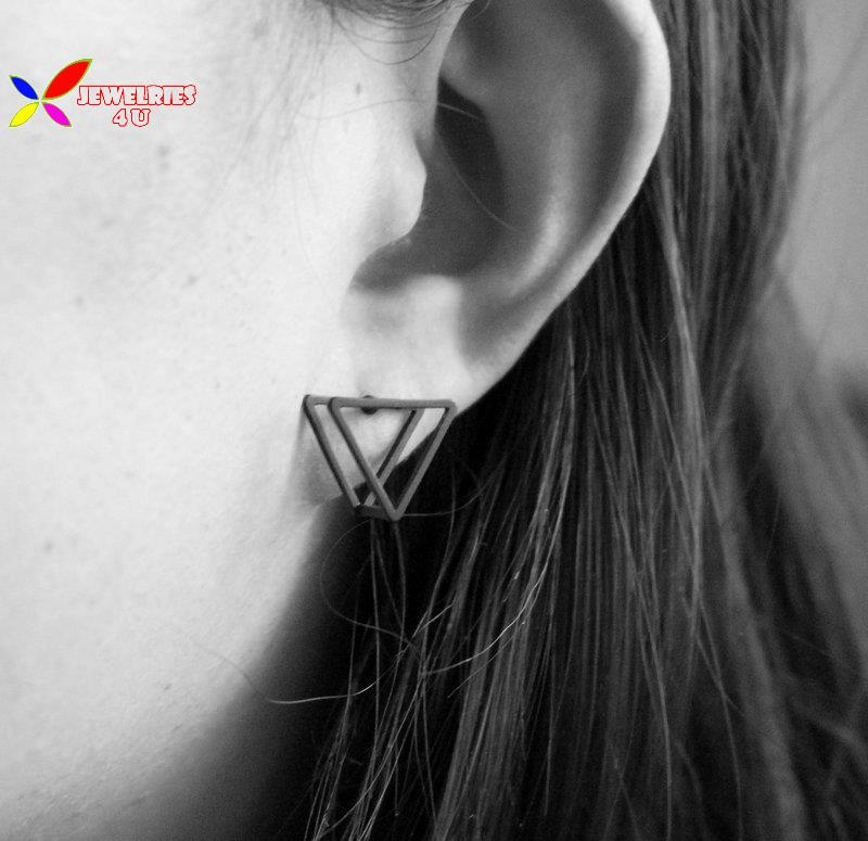 2015 fashion women's designer gold silver black copper triangle square circle cubic geo ear stud earring Aretes de las mujeres(China (Mainland))