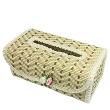 PHFU Wholesale Zigzag Pattern Flower Decor Bamboo Handmade Tissue Box Cover Holder(China (Mainland))